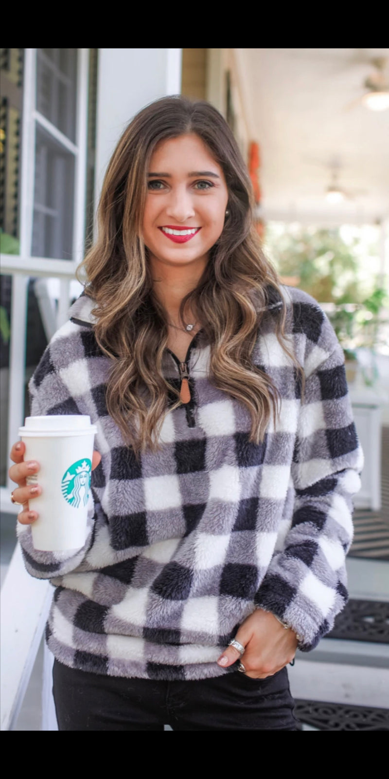 Baylor Buffalo Plaid Fleece Pullover Top  - Also in Plus Size
