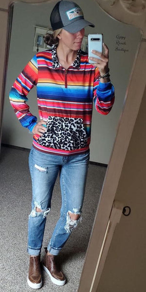 Record Year Serape Leopard Pullover Top - Also in Plus Size