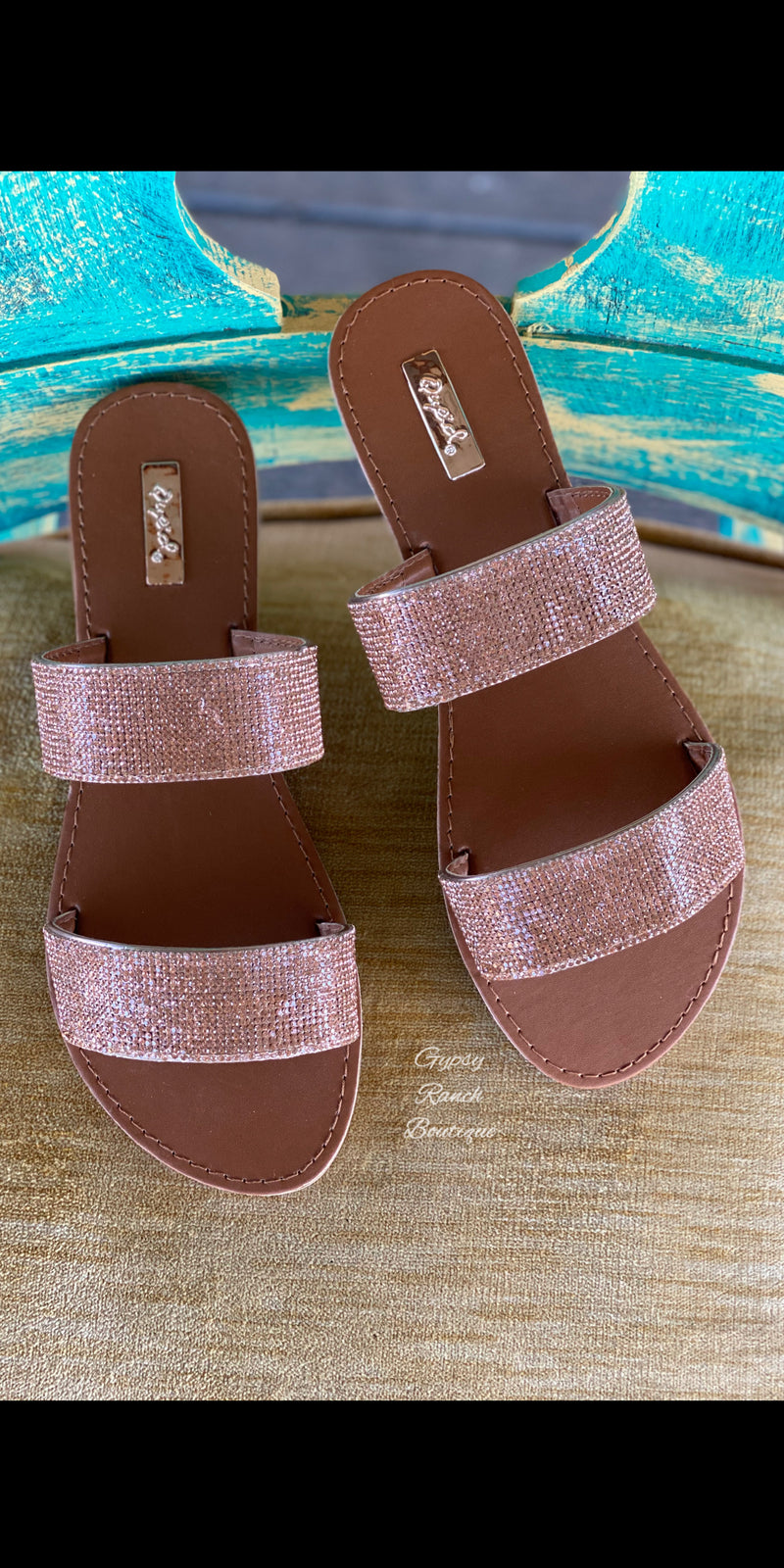 Statyn Island Rose Gold Rhinestone Sandals