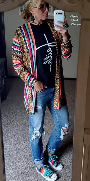 Calgary Leopard Serape Cardigan  - Also in Plus Size