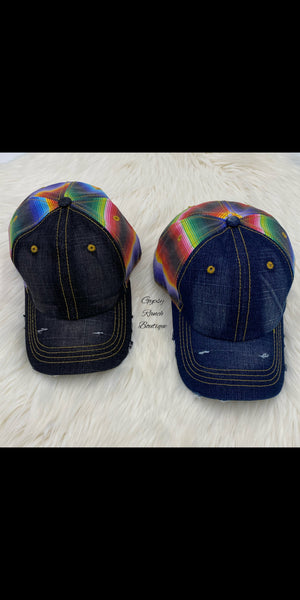 Serape Lane Denim Cap's