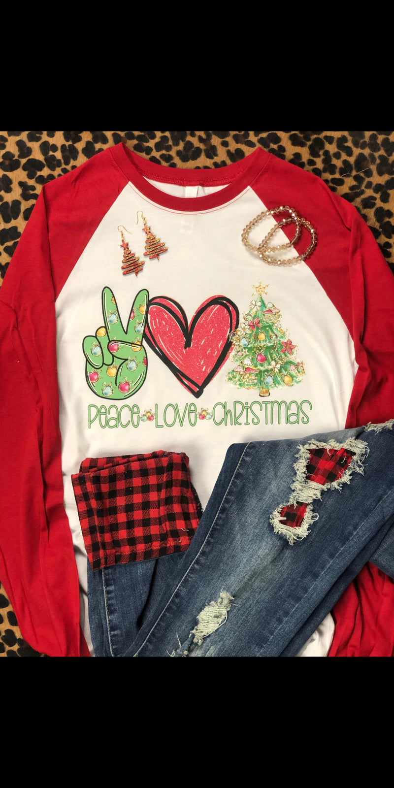 Peace Love Christmas Top- Also in Plus Size