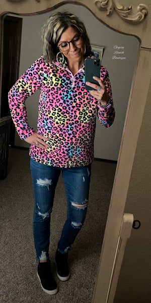 Neon Terrace Leopard Top - Also in Plus Size