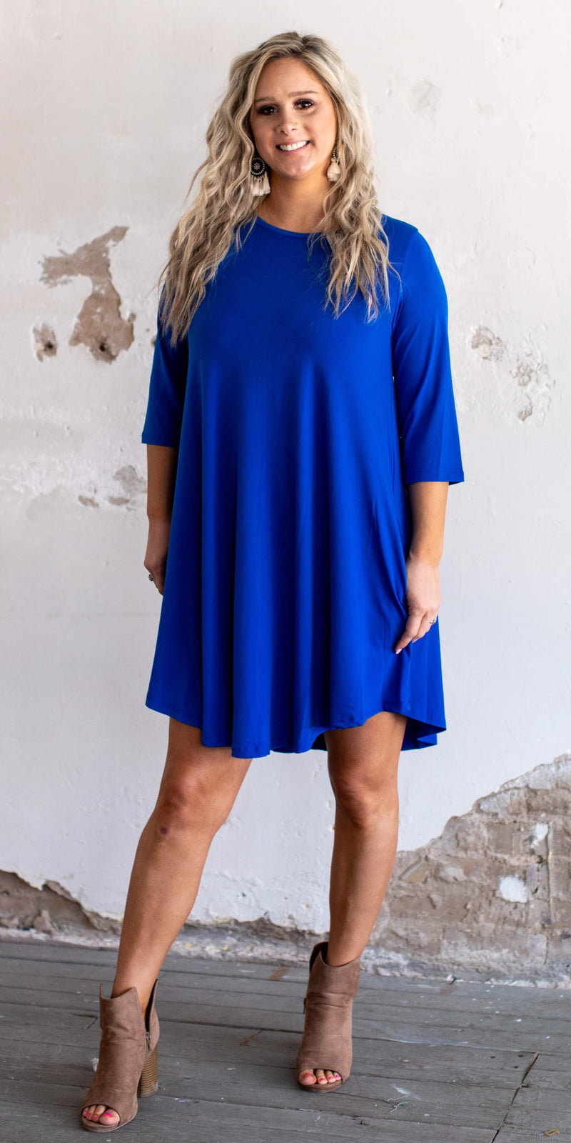 Jill Royal Blue Tunic Dress - Also in Plus Size