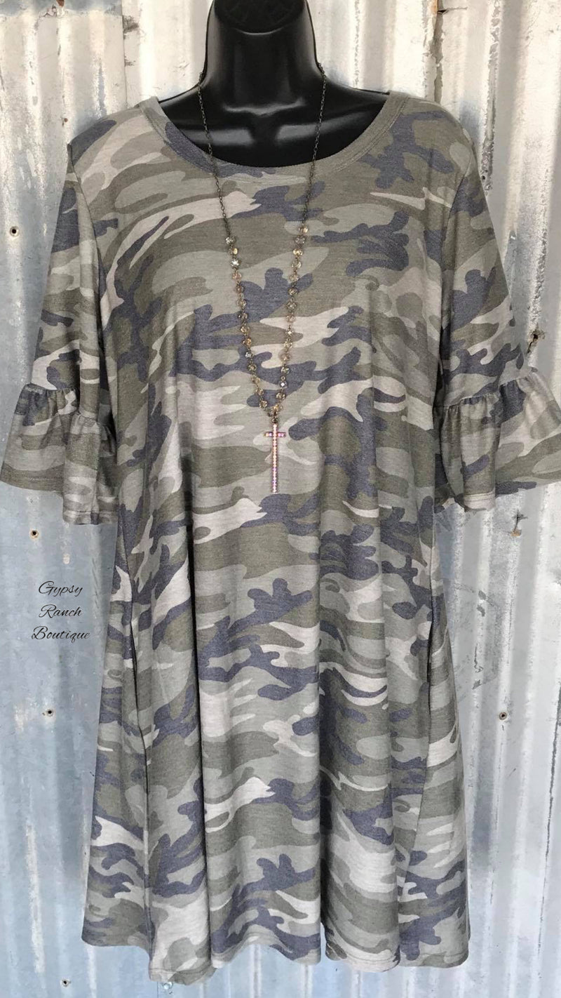 LakePort Camo Tunic Top or Dress - Also in Plus Size