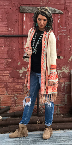 Cast My Cares Tribal Sweater Fringe Cardigan