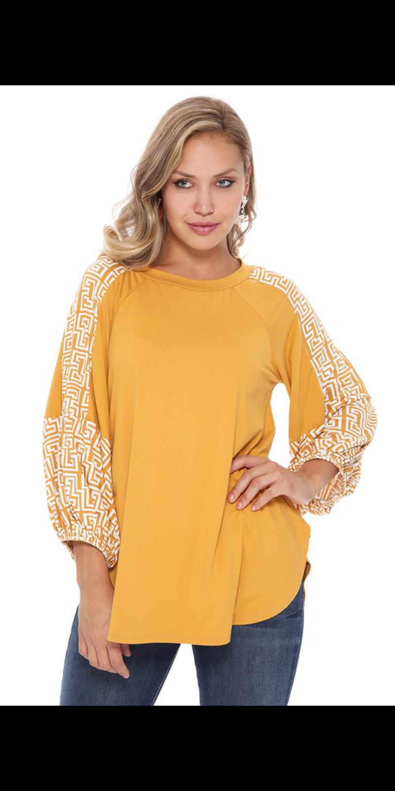 Randa Mustard Detailed Sleeve Top - Also in Plus Size