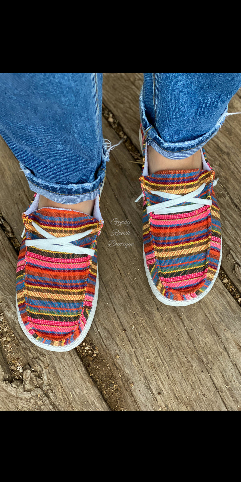 Gypsy Jazz Fiesta Serape Slip On Shoes