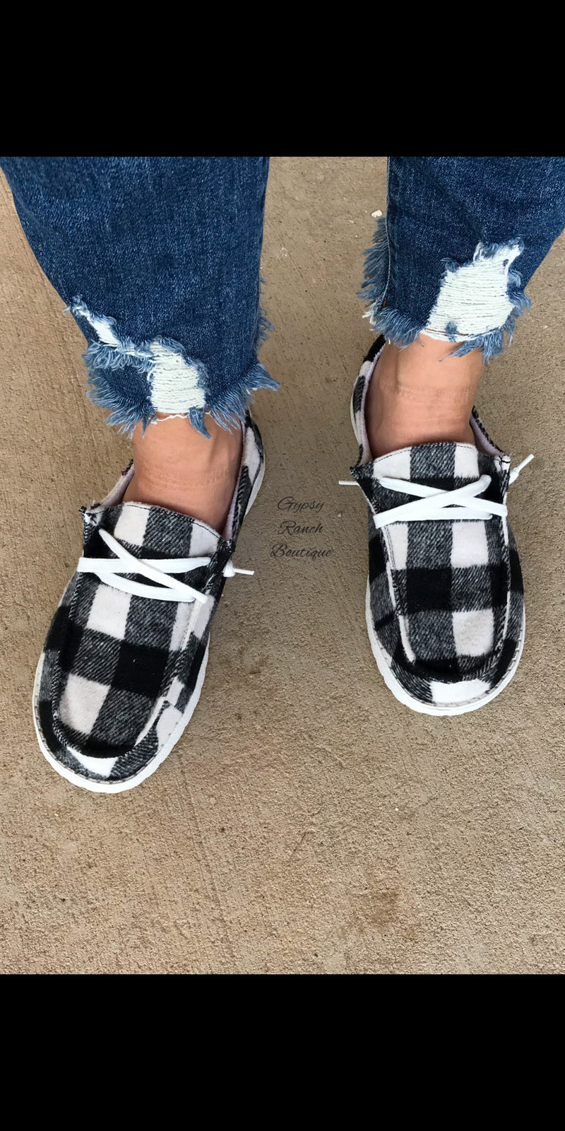 Gypsy Jazz B&W Buffalo Plaid Slip On Shoes