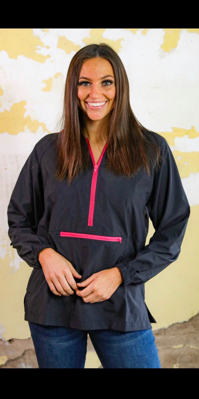 Rain or Shine Black & Pink Windbreaker - Also in Plus Size