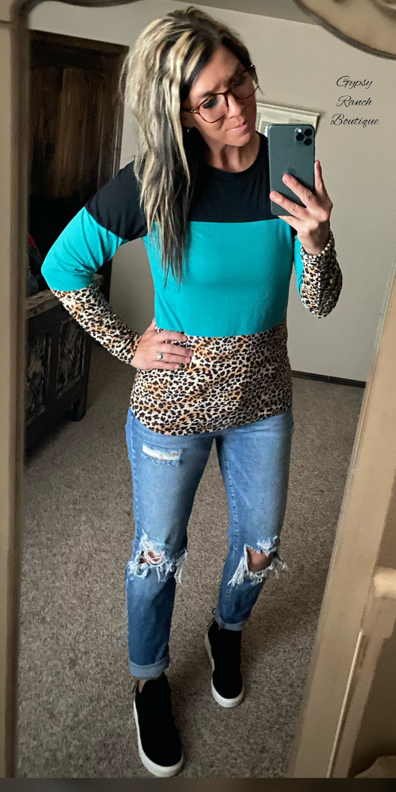 Taylor Turquoise Leopard Top - Also in Plus Size
