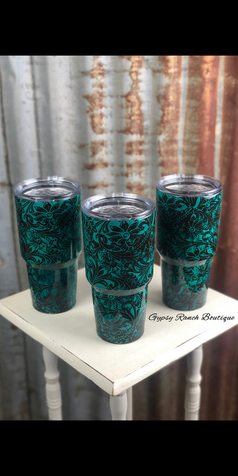 Turquoise Tooled 32 oz Cups