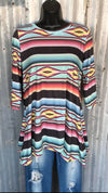 Millie Aztec Serape 3/4 Sleeve Top - Also in Plus Size