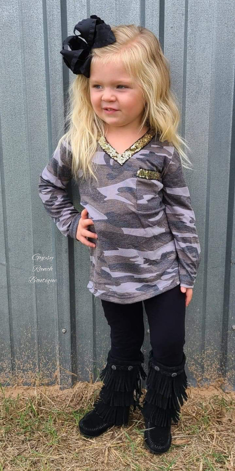 Cammie Camo Sequin Top - Kids