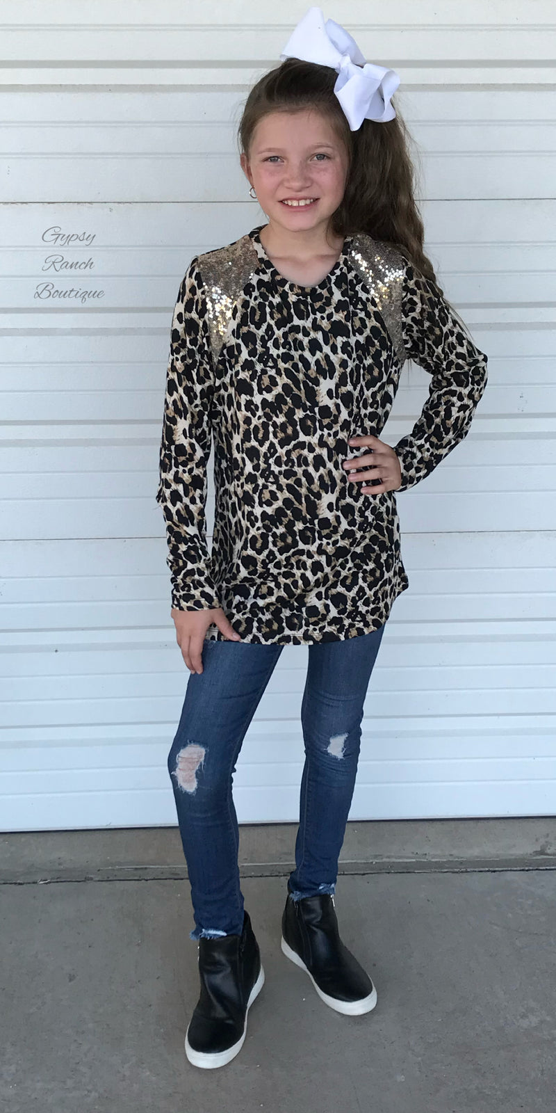 Lendy Leopard Sequin Top