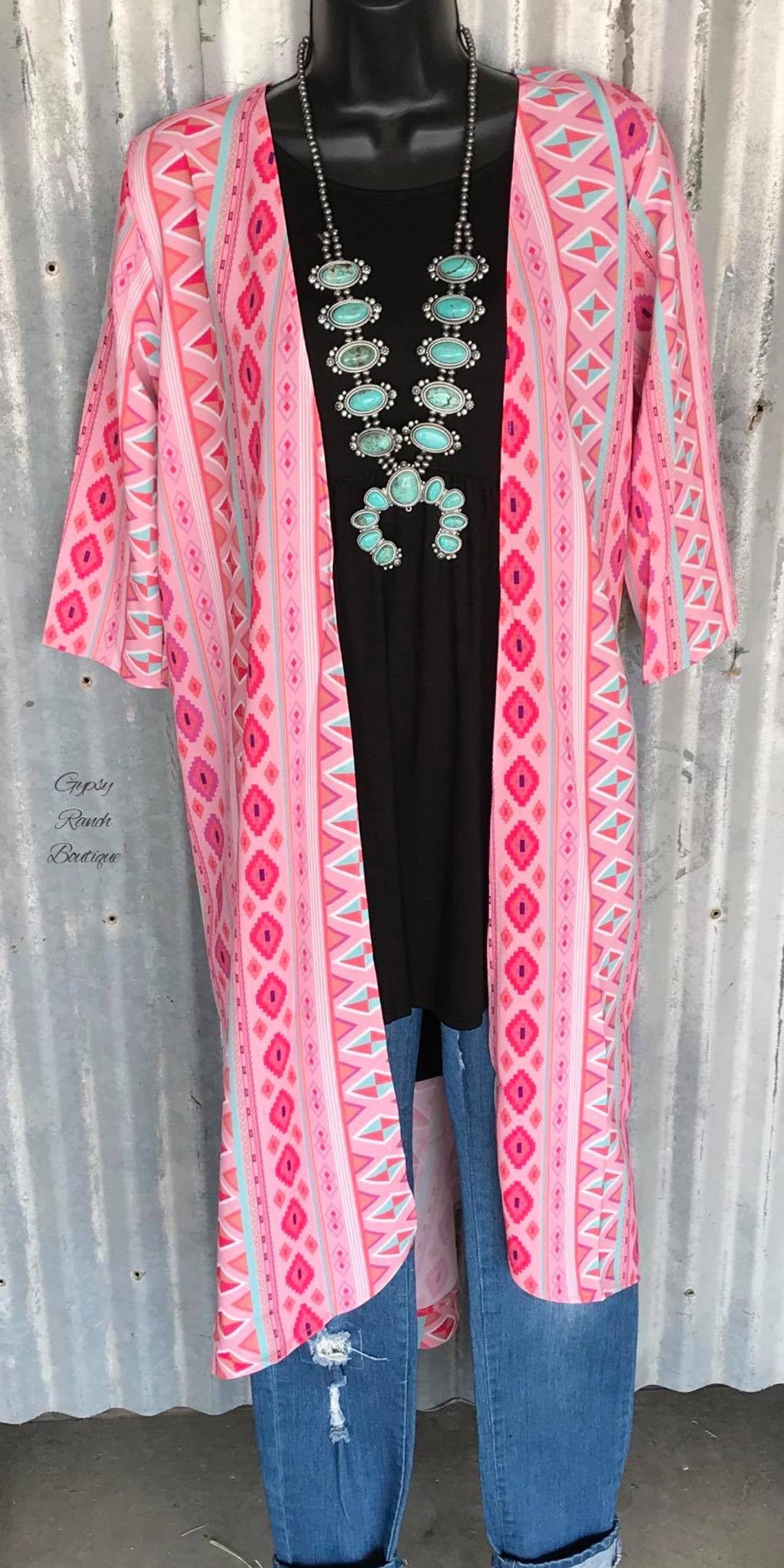 Backroads Aztec Cardigan Kimono -  Also in Plus Size
