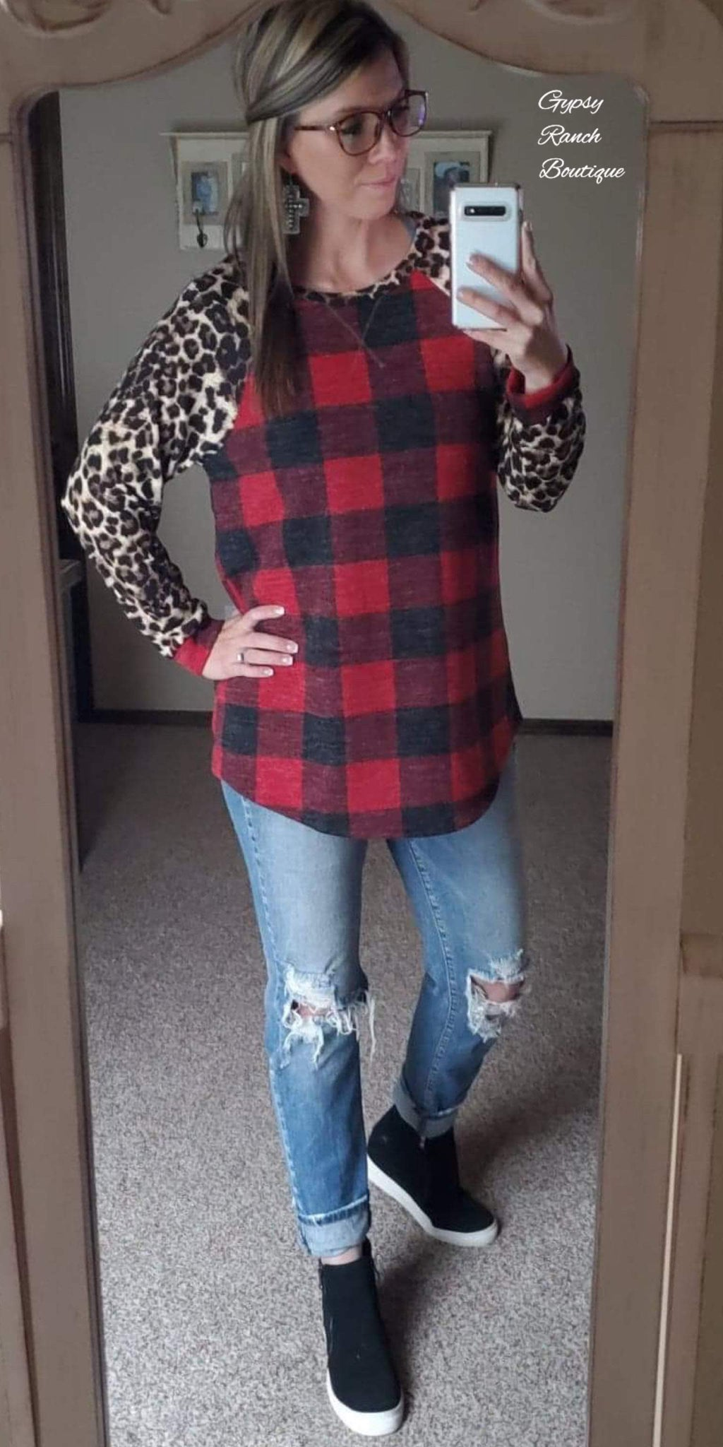 Rural Haze Buffalo Plaid Leopard  Raglan Top - Also in Plus Size