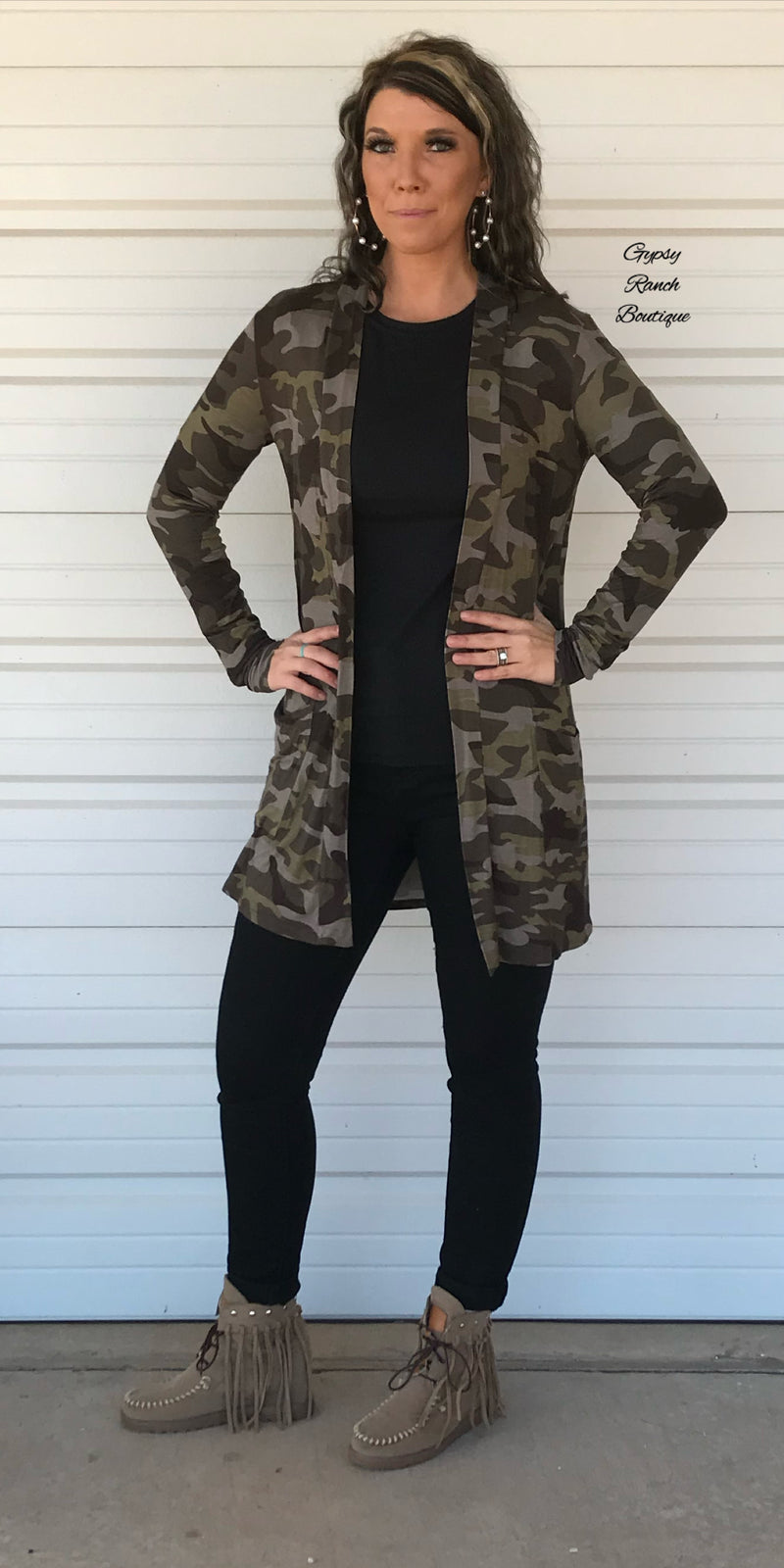Porter Camo Cardigan - Also in Plus Size