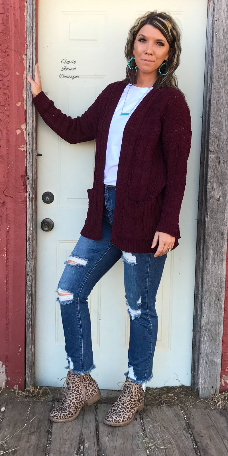Wynona Wine Soft Solid Cardigan