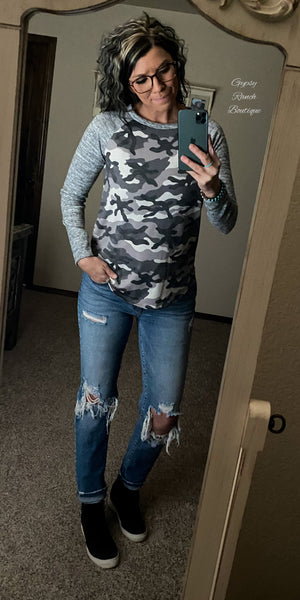 Perryton Grey Camo Top - Also in Plus Size