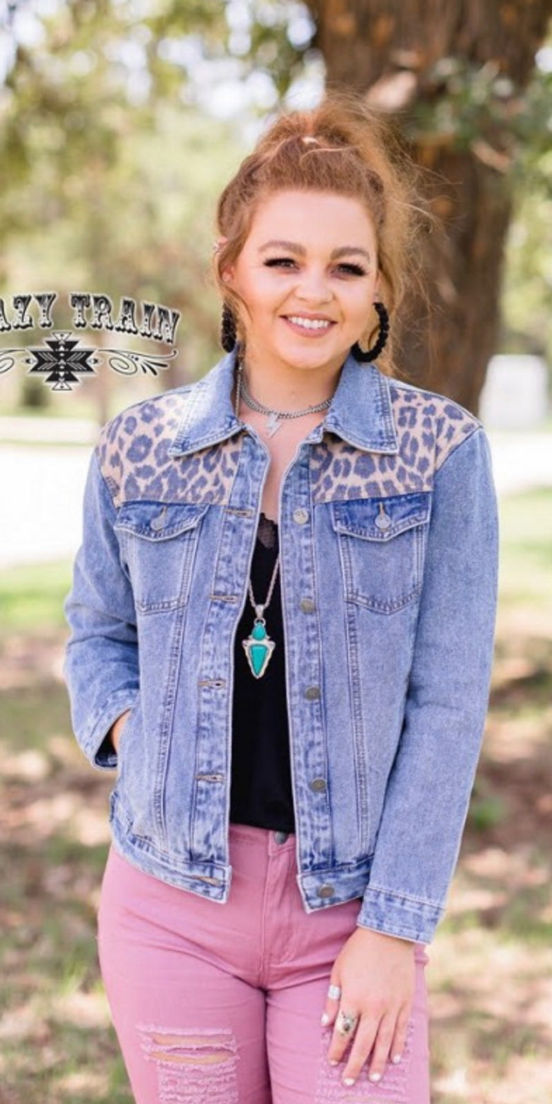As If  Denim Leopard Jacket - Also in Plus Size