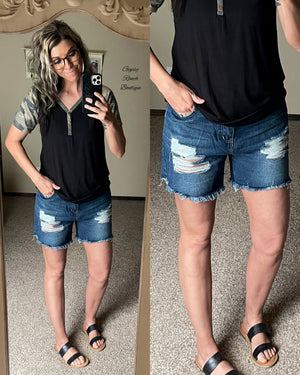 Dell City Distressed Denim Shorts