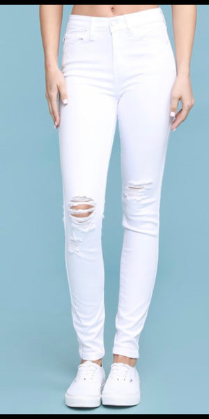 Los Angeles White Distressed Patch Skinny Jeans