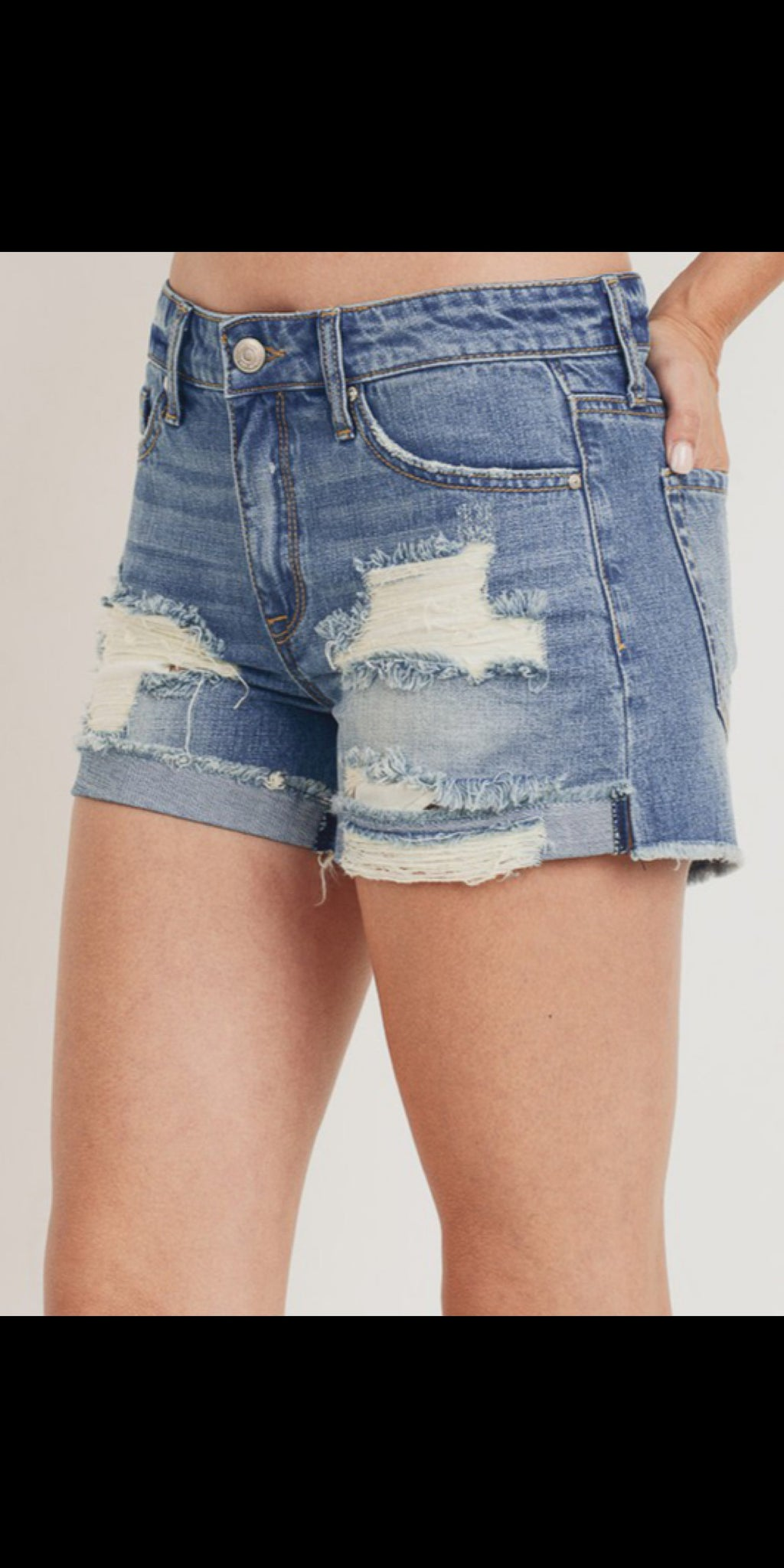 Fray it Ain't So Distressed Denim Shorts