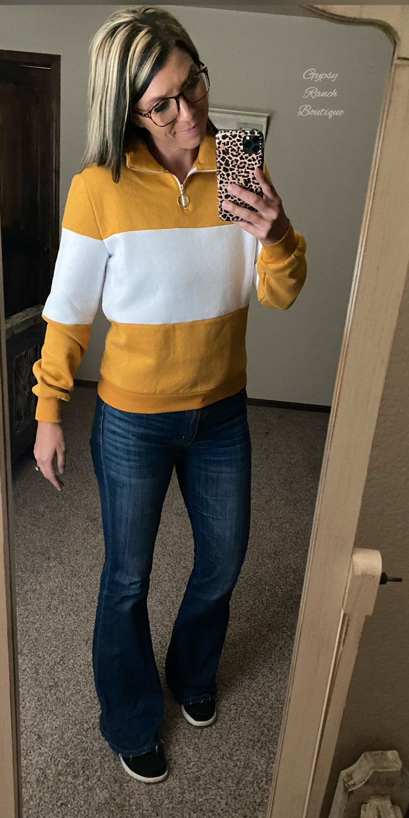 Rolling Hills Mustard Pullover Top