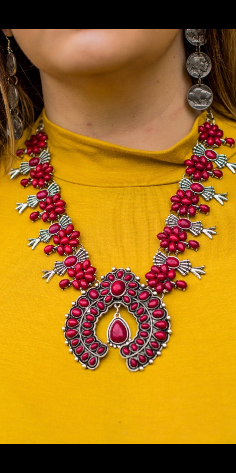 Red Empire Squash Blossom Necklace