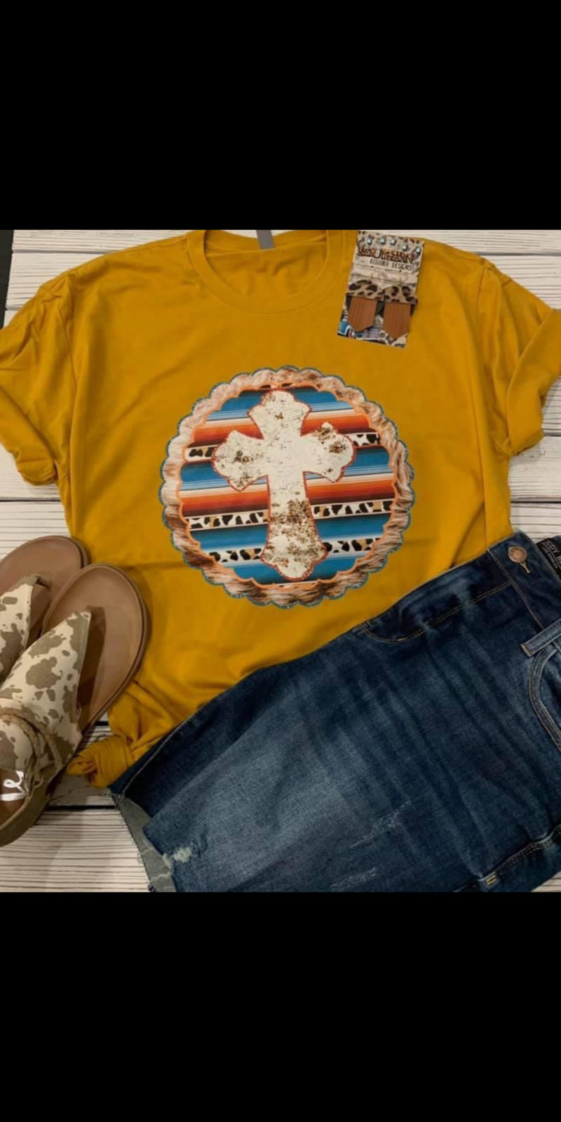 Rapid City Cowhide Serape Cross Top - Also in Plus Size
