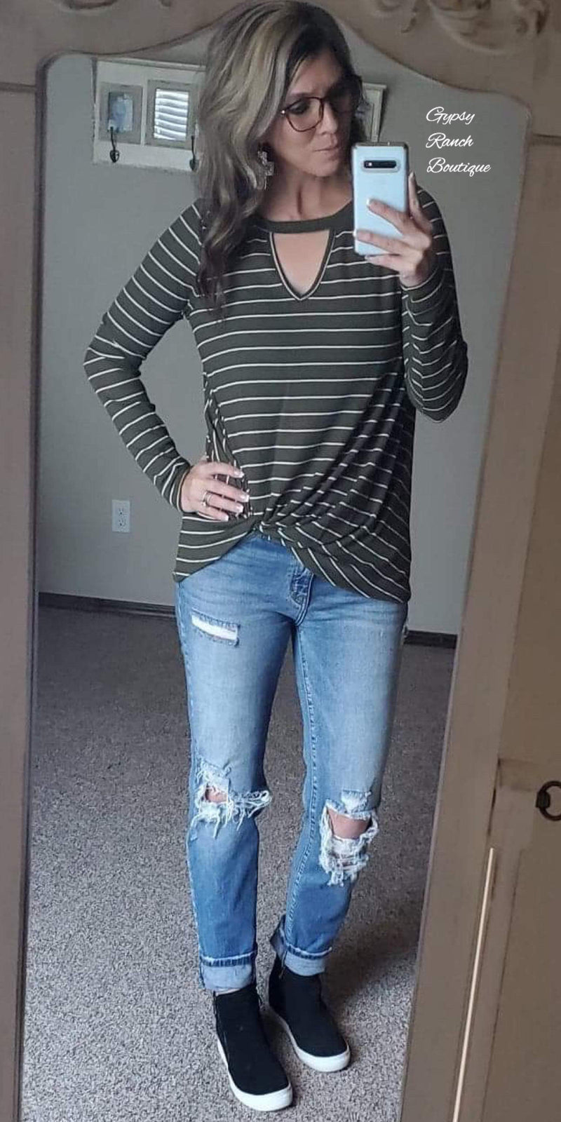 Olive You Forever Stripe Knot Top