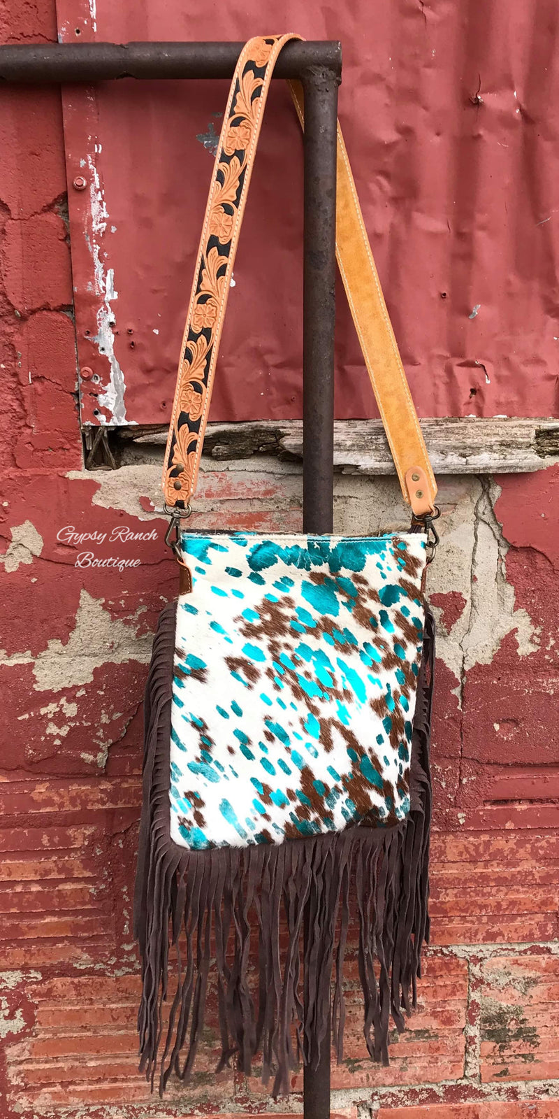 Rio Ranch Cowhide Turquoise Concealed Carry Purse