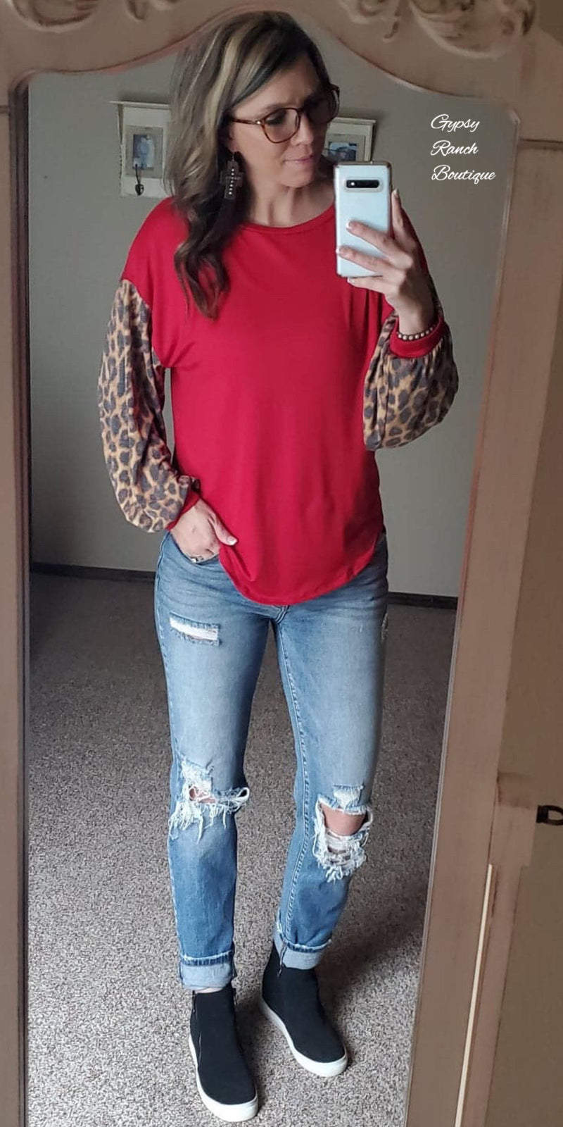 Reno Red Leopard Top