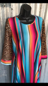 Jewel of the South Serape Leopard Tunic Dress -Also in Plus Size