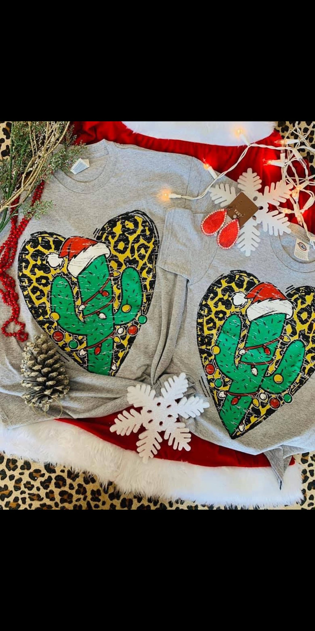 Christmas Heart Cactus Top - Also in Plus Size