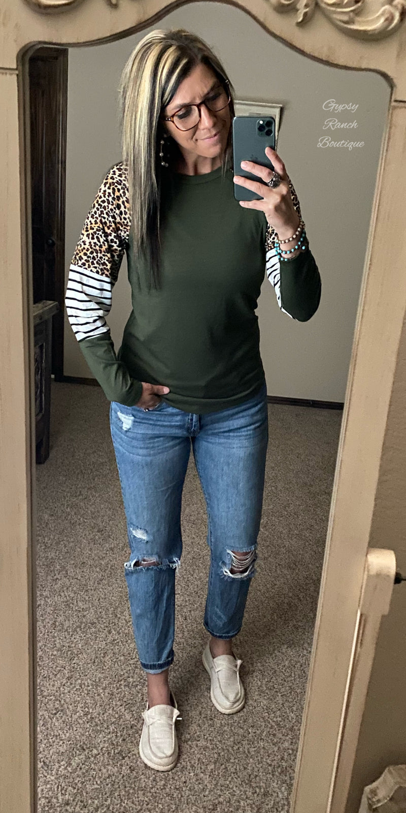 Olive You Forever Stripe Leopard Top - Also in Plus Size