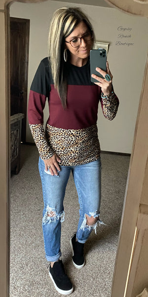 Remi Burgundy Leopard Top - Also in Plus Size