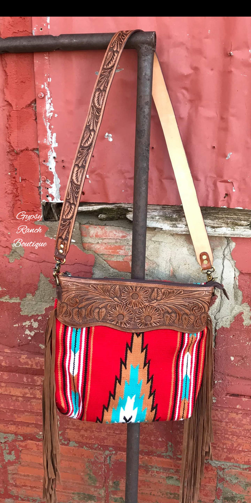 Amarillo Aztec Tooled Leather Purse Tote
