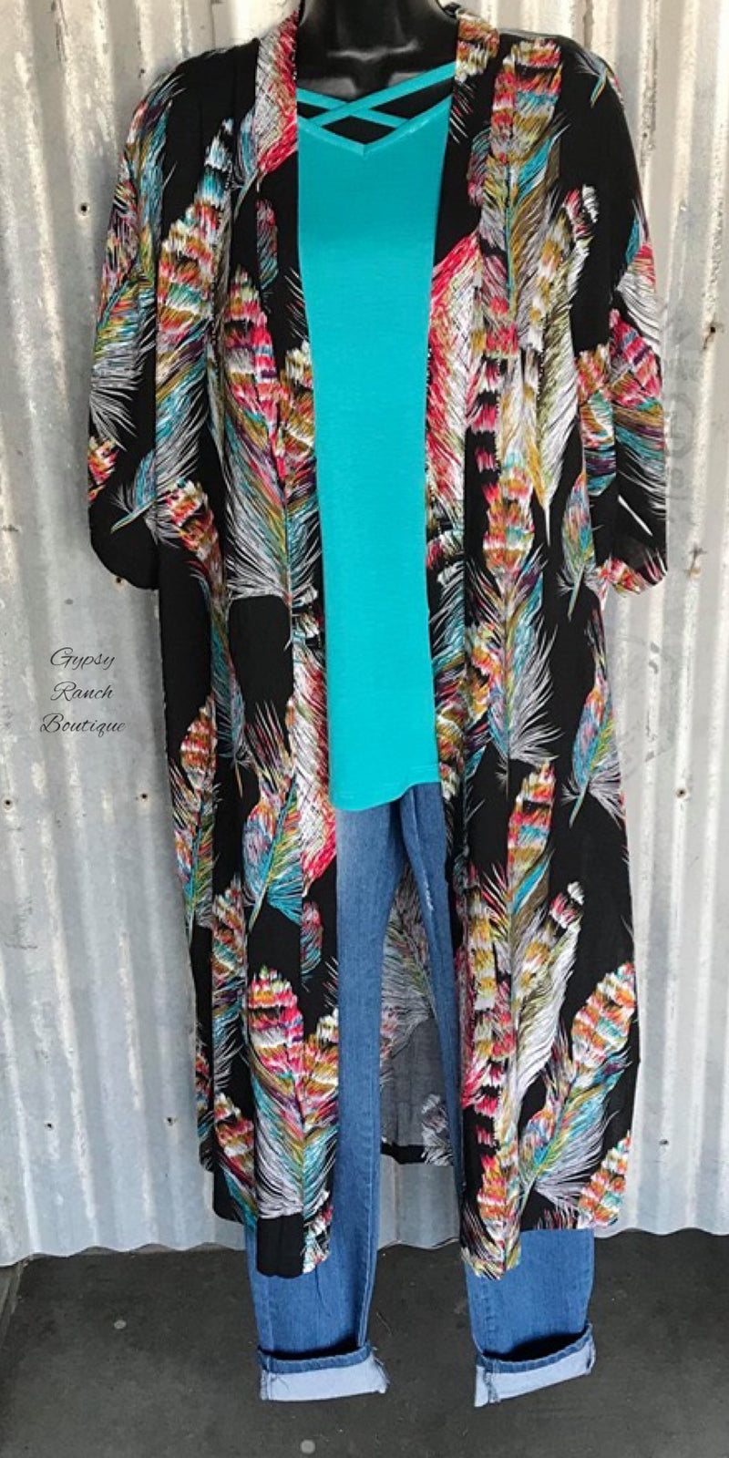 Daylan Feather Cardigan Kimono - Also in Plus Size
