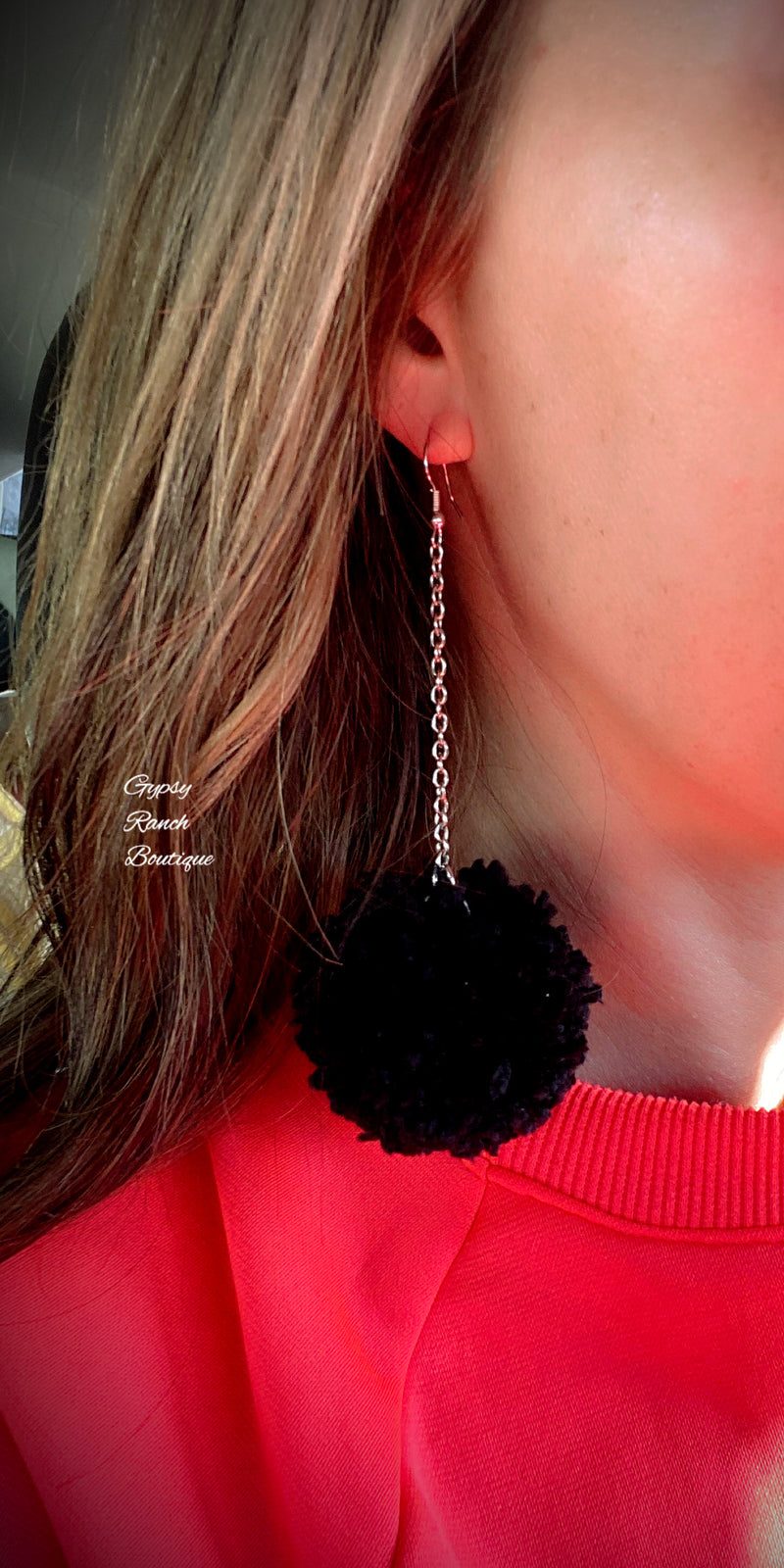Roulette Black Pom Earrings