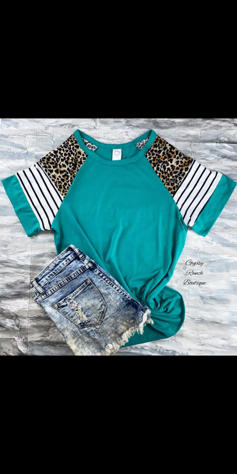 Cambridge Turquoise Leopard Stripe Top - Also in Plus Size