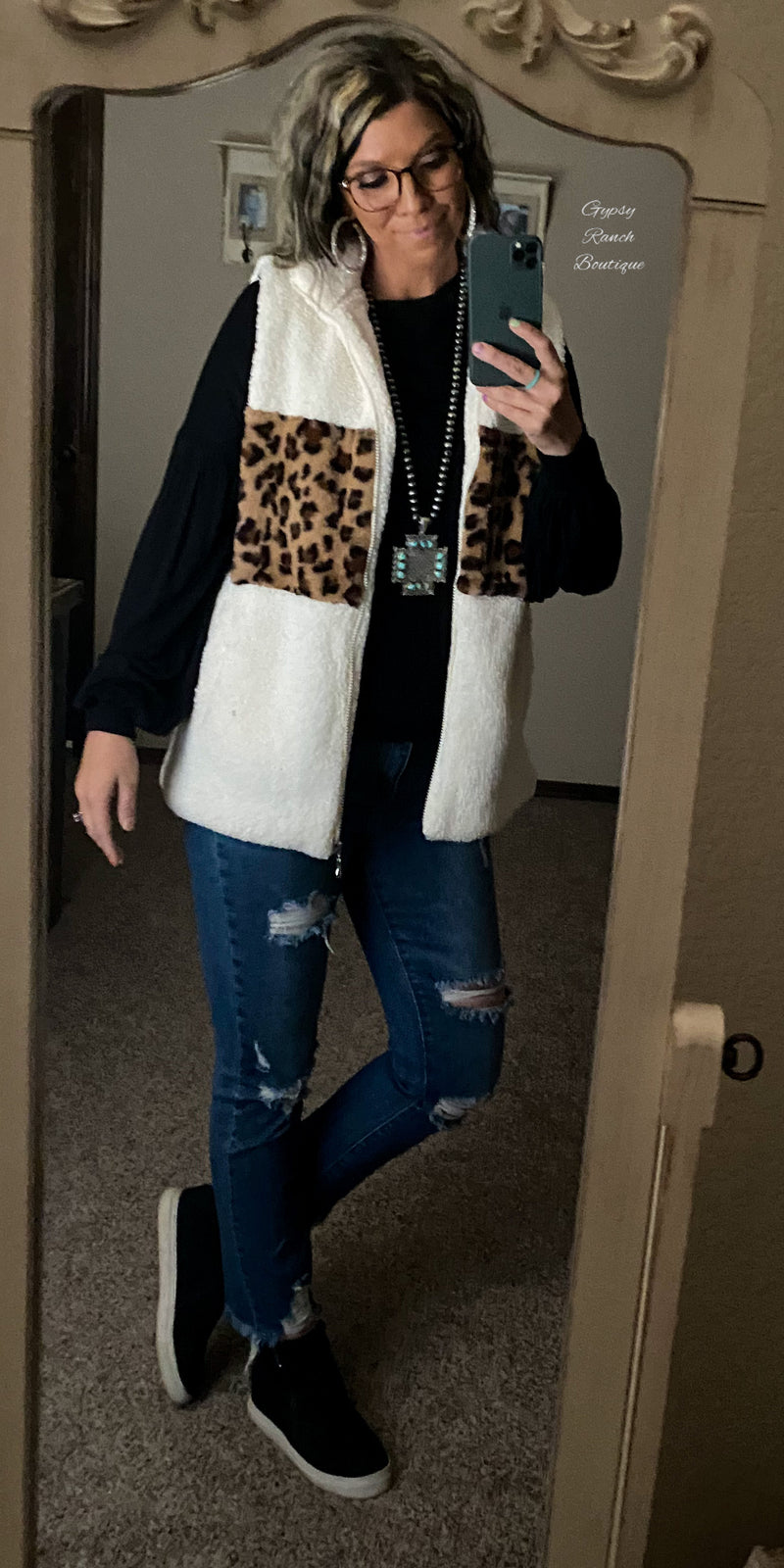 Adobe Creek Leopard Vest- Also in Plus Size