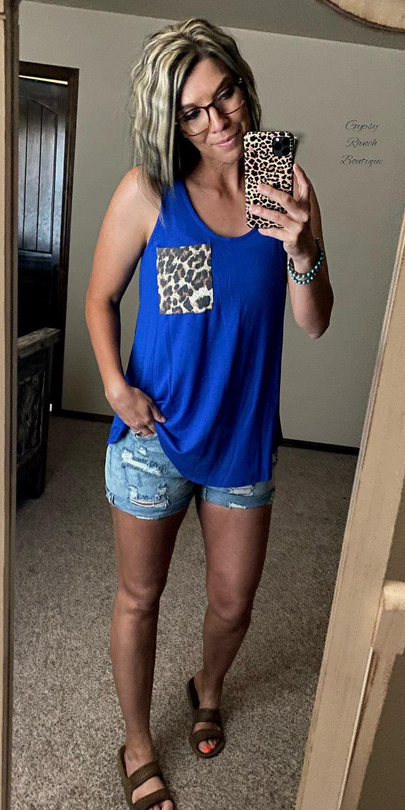 Cicily Royal Blue Leopard Pocket Tank Top - Also in Plus Size