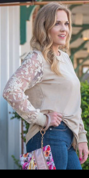 Saw You At The Orchard Beige Lace Sleeve Top -Also in Plus Size