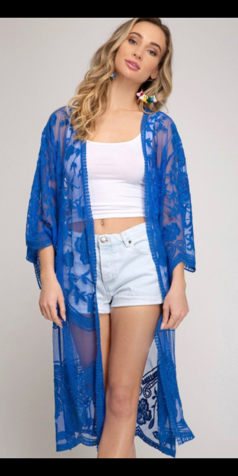 Reckless Love Royal Blue Lace Cardigan - Also in Plus Size
