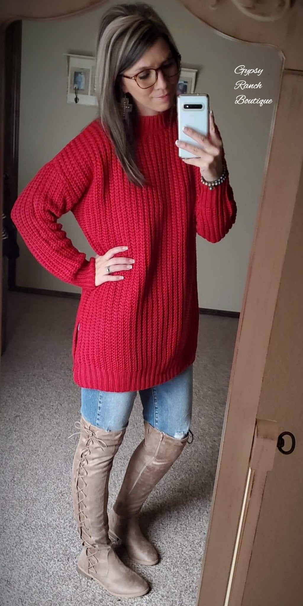 Happy Hour Red Sweater - Also in Plus Size