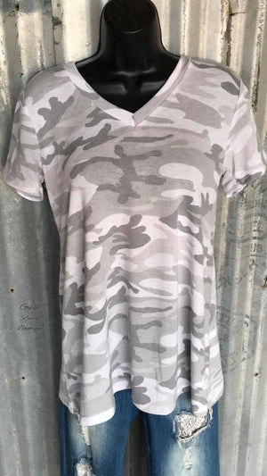 Ransom Grey Camo Top - Also in Plus Size