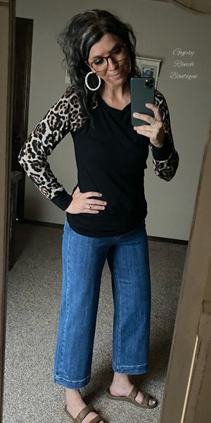Ryder Leopard Black Top - Also in Plus Size