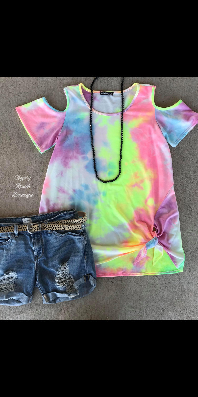 Brinkley Tye Dye Cold Shoulder Top - Also in Plus Size
